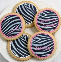 Personalized Zebra Cookie Favors