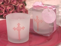 Pink Cross Candle Holder