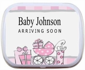 Pink or Blue Buggy Personalized Mint Tins