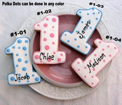 Polka Dot Number 1 Cookie Favors