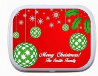 Red and Green Holiday Ornaments - Personalized Mint Tins