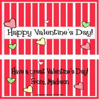 VAL10 - Red Striped Valentine Candy Bar Wrappers