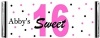 SS-09CW Pink and Black Dots Sweet 16 Candy Bars