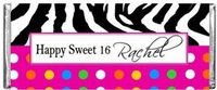SS-12CW POLKA DOT ZEBRA PRINT Sweet 16 Candy Bars