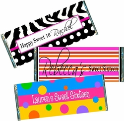 Sweet 16 Candy Bar Favors & Wrappers
