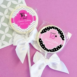 Sweet 16 and Sweet 15 Personalized Lollipops