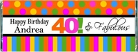 WB-01CW 40 And Fabulous Birthday Candy Bar Favors