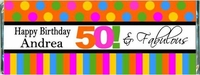 WB-02CW 50 And Fabulous Birthday Candy Bar Favors