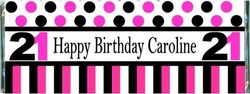 WB-04CW Pink and Black Birthday Candy Bar Favors
