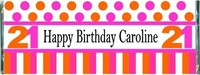 WB-05CW Pink and Orange Birthday Candy Bar Wrappers