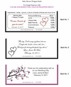 WED-08CW Black and White Linking Hearts Wedding Candy Wrapper