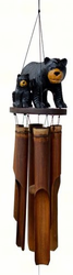 Black Bear Family Bamboo Wind  Chime