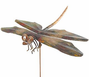Copper Dragonfly Garden Sculpture - Stake or Wall Mount