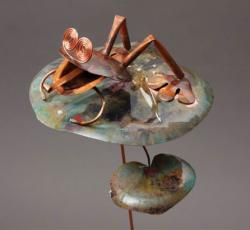 Copper Frog on Lily Pad  Garden Stake