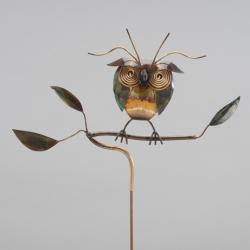 Copper Owl on Branch Garden Stake