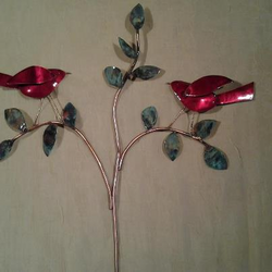 Copper  Birds on Tree  Branch Wall Hanging - Indoor/Outdoor