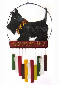 Scottie Metal and Glass Dog Wind Chime