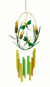 Dragonflies & Cattails Glass Chime