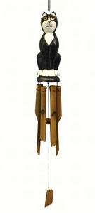 Black & White Cat Bamboo Wind Chime