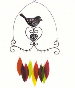 Glass  and Metal Bird & Heart Chime