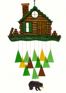 Log Cabin Glass and Wood Wind Chime