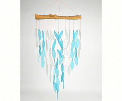 Graceful  Blue Sandblasted Glass and Driftwood Waterfall Chime