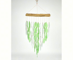 Graceful Green  Glass and Driftwood Wind Chime