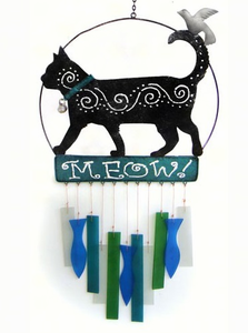 Kittie Cat Glass and Metal  Wind Chime