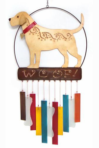 Lab Metal/Glass  Dog Wind Chime