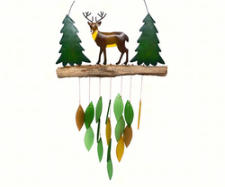 Metal Deer and Colored Glass Wind Chime