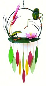Metal  Frogs & Cattails Glass Chime
