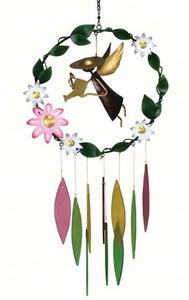 Metal Garden Angel Flower Garden  Glass Wind Chime