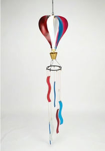 Patriotic  Metal Hot Air Balloon Glass Wind Chime
