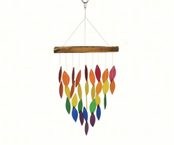 RainbowWaterfall Glass and Driftwood Chime
