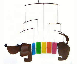 Rainbow  Glass and Metal  Dachshund Mobile