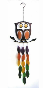 Retro Owl Metal Glass Chime
