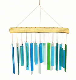 Handcrafted Sandblasted Glass & Driftwood Chime