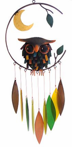 Spiky Owl w/Moon Glass Wind Chime