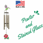 Stained Glass and Pewter Wind Chimes - Made in the USA