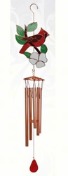 Stained Glass Cardinal  Metal Wind Chime - 40 Inches