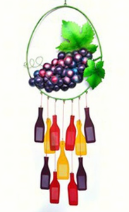 Grapes on Vine With Wine Bottles  Glass Chime