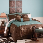 Tooled Turquoise Cross 7 Piece Comforter Set Twin