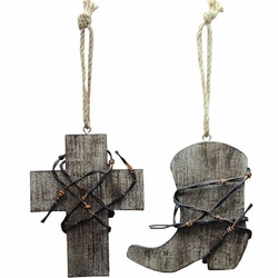 Boot Barbed Wire Cross Wood Ornament Set