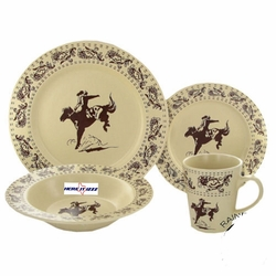 Bronc Riders​  Cream  Dinner Set