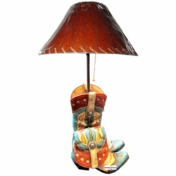 Burgundy and Turquoise Cowgirl Boot Lamp
