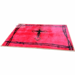 Burgundy Cross with Barbed Wire Rug