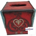 Burgundy Turquoise Heart Tissue Box Cover