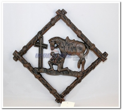 Cast Iron Praying Cowboy Trivet Plate