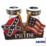 Confederate Flag Glass Salt And Pepper Shaker Set