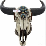 Cow Skull Night Light With Turquoise Cross